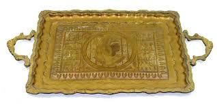 Decorative Serving Trays With Handles Vintage Brass Tray Egyptian Motif Serving Tray Decorative Ornate 37