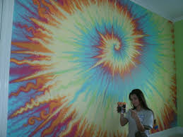 Tie Dye inspired fresco rainbow wall mural by SignificantArt - yowza! This  is awesome!