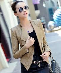 beige short leather jacket with black winter fashion