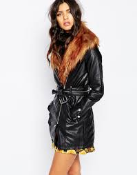 river island leather look faux fur collar trench coat