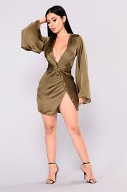 Land Satin Dress Olive