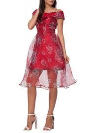 Red Nicole Off Shoulder Floral Print Organza Dress