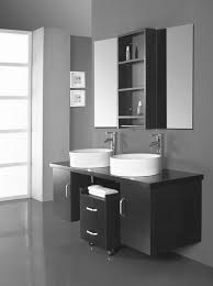 black wooden and double round white bowl sink added small end table with double drawers on black and white bathroom furniture
