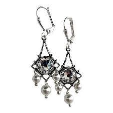 boho vintage crystal pearl filigree chandelier earrings crystal by swarovski