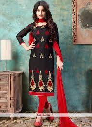 Cotton Churidar Dress Design Patterns Chanderi Cotton Black Embroidered Churidar Suit