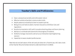 teacher skills resume 7829