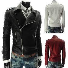 men s slim personalized multi zipper lapel short leather coats