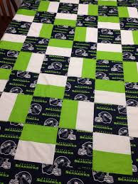 Handmade Seattle Seahawks Quilt,62 x 50.Perfect for the number fan ... & Handmade Seattle Seahawks Quilt,62 x 50.Perfect for the number fan Adamdwight.com