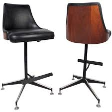 Mid Century Modern Swivel Bar Stool With Leather Upholstered Back