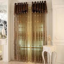 Marvelous Brown Embroidered Sheer Curtains For European Bedroom