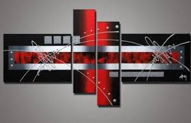 hand painted wall art silver red lines point home decoration abstract landscape oil painting on on wall art red with hand painted wall art silver red lines point home decoration