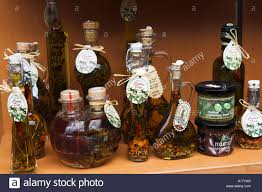 Olive Oil Decorative Bottles Decorative bottles of olive oil on display Stock Photo 60 10