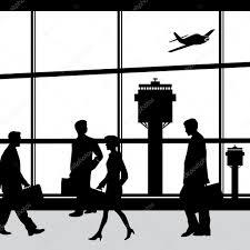 空港ラウンジのシルエット ベクトル図の人々 ストックベクター