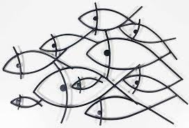 on fish swirl metal wall art with metal wall art fish shoal outline
