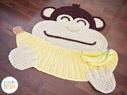 crochet pattern pdf by irarott for making an adorable banana monkey rug or safari area mat