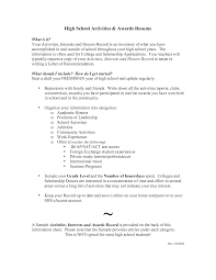 Sample Resume Sample High School Resume College Application