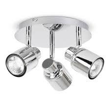 Kitchen Ceiling Light Fittings Modern Chrome 3 Way Round Gu10 Halogen Ceiling Spot Light