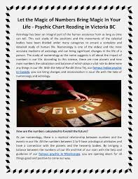 Psychic Chart Reading In Vic Numerology Can Bring Magic In