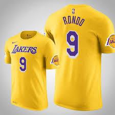 Men's Angeles Los Gold Rondo T-shirt Rajon Lakers Shootaround