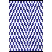 jubilee royal blue white lightweight indoor outdoor reversible plastic rug