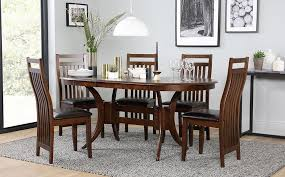 gallery townhouse oval extending dark wood dining table and 4 java chairs set