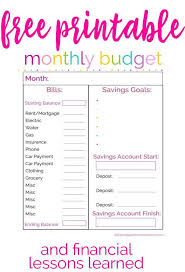 financial planner template printable monthly budget planner template