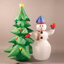 Image of Inflatable 180cm (6ft) Snowman and Christmas Tree