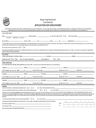 Reason For Leaving Job On Application Form Burger King Restaurant Crew Member Application For