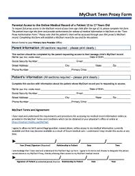 Fillable Online Mychart Teen Proxy Form The Baton Rouge