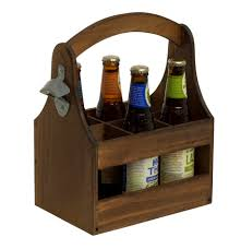 new wood beer caddy barbeque tool holder carry all carrier handle bottle opener