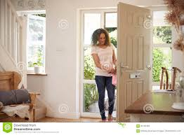 Image result for women coming home opening the door