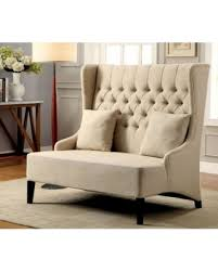 Lavre Contemporary Loveseat With Tufted High Back Ivory Flax Fabric  Benzara High Back Loveseat S21