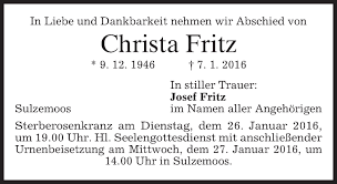 Traueranzeigen von Christa Fritz | trauer.merkur.de