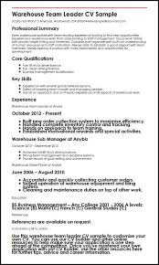 Good Qualifications For A Job Warehouse Team Leader Cv Sample Myperfectcv