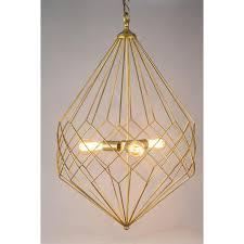 large gold wire geometric diamond pendant
