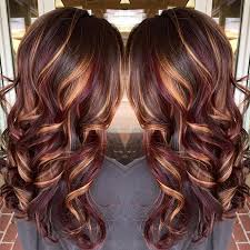 Hairstyle Color brunette hair color with burnished blonde highlights curly long 4355 by stevesalt.us