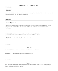 Example Career Objective Resume Job Objectives For Resumes Examples
