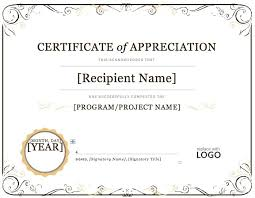 Certificate Of Recognition Template Free Download Free Appreciation Word Certificates Template In Certificate Of