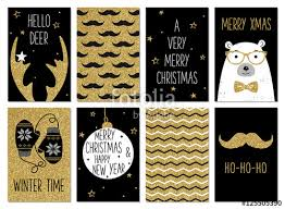 Black And White Greeting Card Christmas Hipster Greeting Card Templates Gold Glitter Black And