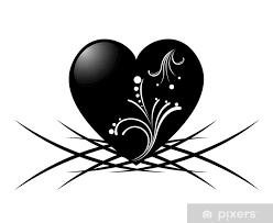 Nálepka černé A Bílé Tetování Srdce S Květinovým Vzorem Pixerstick