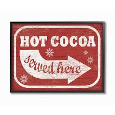 holiday white and red vintage sign hot cocoa served here by artist daphne poli framed wall art