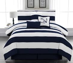 nautical beach themed bedding in blue white stripe pattern for bedroom decoration ideas