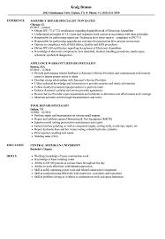 Repair Specialist Resume Samples Velvet Jobs
