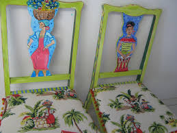 tropical painted furniture. Wonderful Furniture Hand Painted Furniture Art Chair Tropical Colorful Recycled Wood With