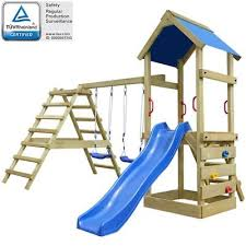 children outdoor playhouse wooden climbing frame slide swings tree house ladders