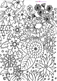 Coloring Pages For Spring Flowers With Flower Adultsard Printable