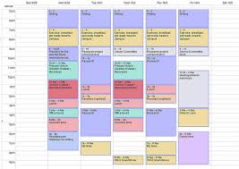 Sample Agenda Calendar Custom Scheduling My Academic Life To The Very Minute My Weekly Template