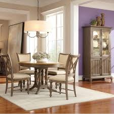 windhaven wood round dining table and chairs in shenandoah barnwood by riverside furniture
