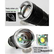 Đèn pin siêu sáng USA Cao Cấp Có Zoom kèm sạc và dây đeo tia sáng trắng