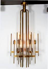 Italienischer Mid Century Modern Messing Kronleuchter Von Gaetano Sciolari 1960er Jahre